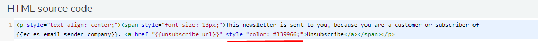 change unsubscribe link color