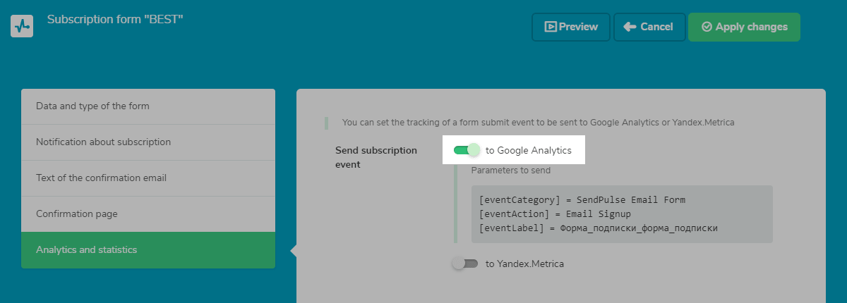 Settings for collecting statistics in Google Analytics
