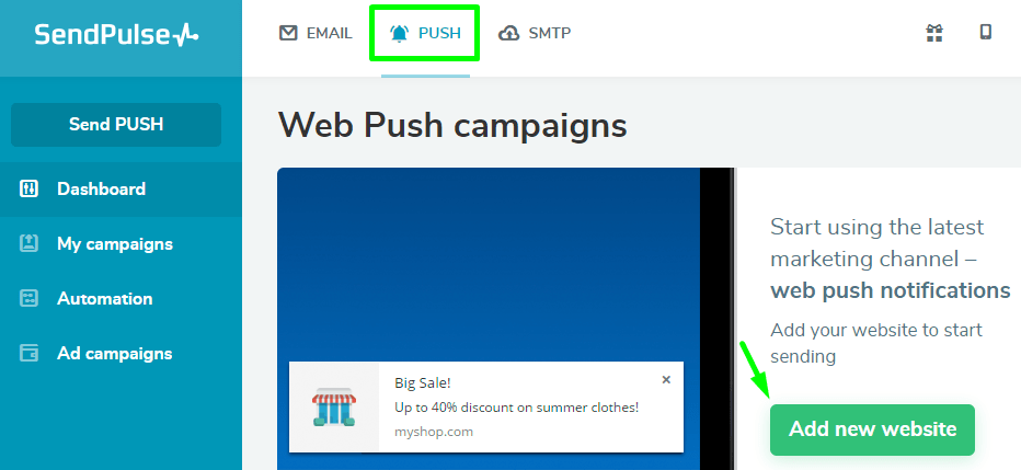How to add push notifications to the website? | SendPulse